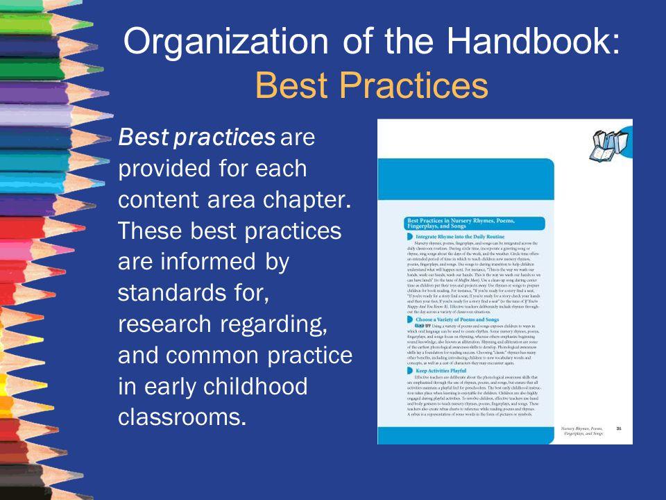 Organization of the Handbook: Best Practices