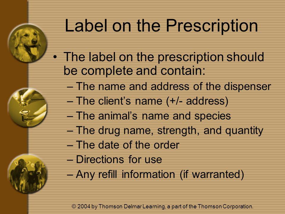Label on the Prescription
