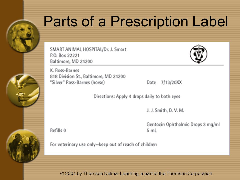 Parts of a Prescription Label