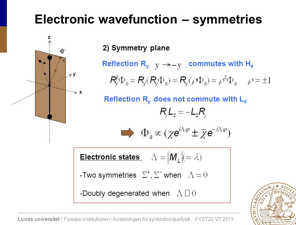 Electronic wavefunction – symmetries