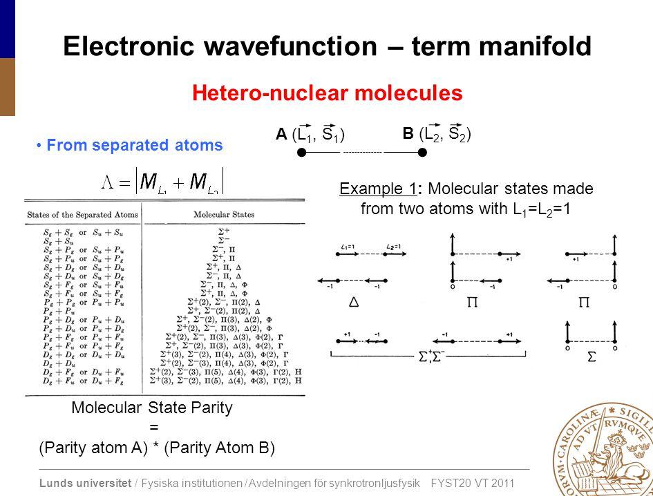 Electronic wavefunction – term manifold
