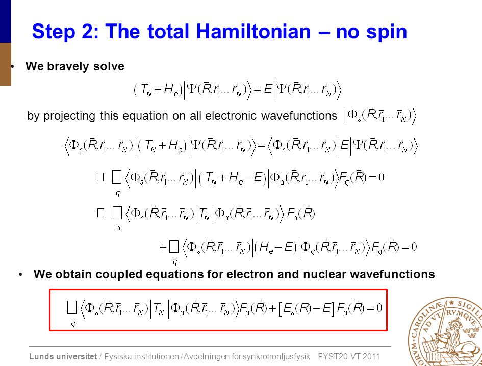Step 2: The total Hamiltonian – no spin
