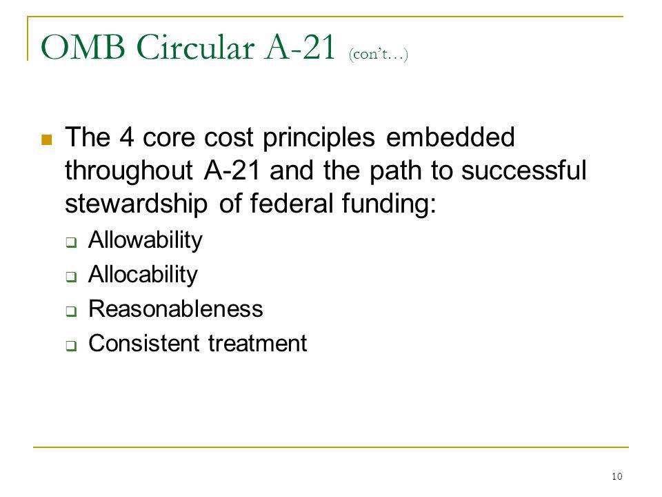 OMB Circular A-21 (con't…)