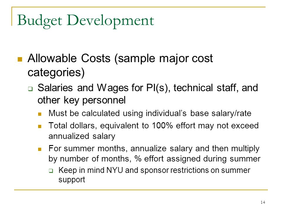 Budget Development Allowable Costs (sample major cost categories)