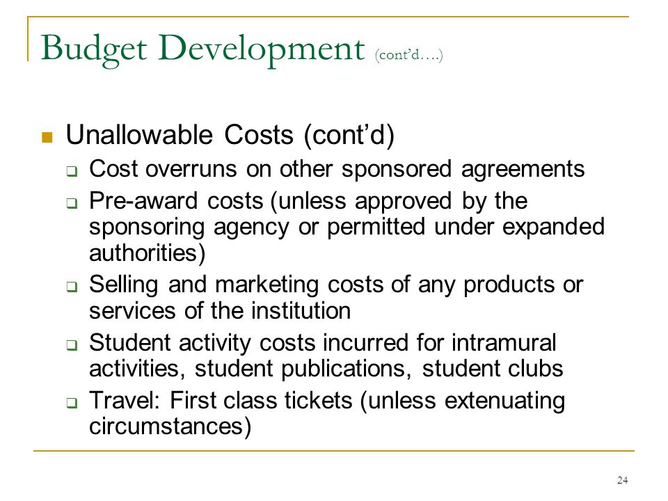 Budget Development (cont'd….)