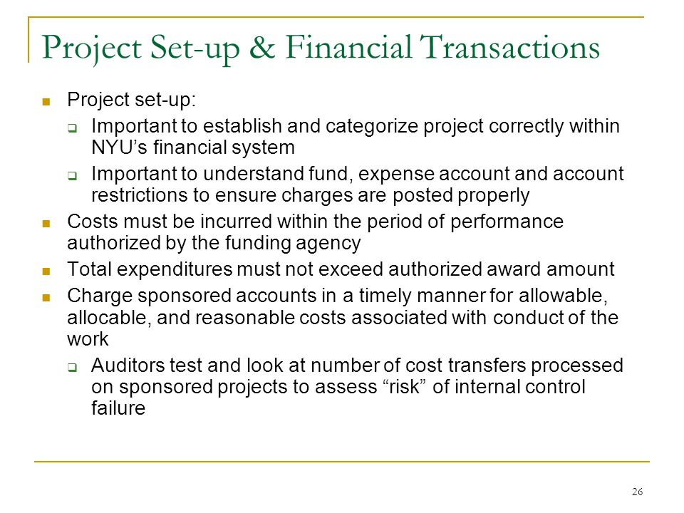 Project Set-up & Financial Transactions