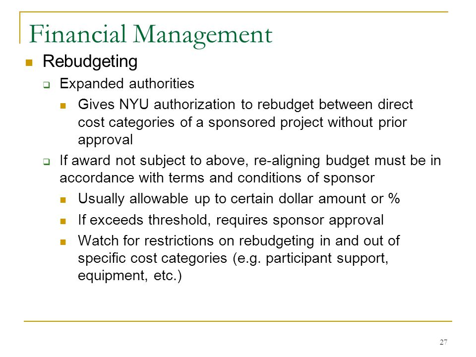 Financial Management Rebudgeting Expanded authorities