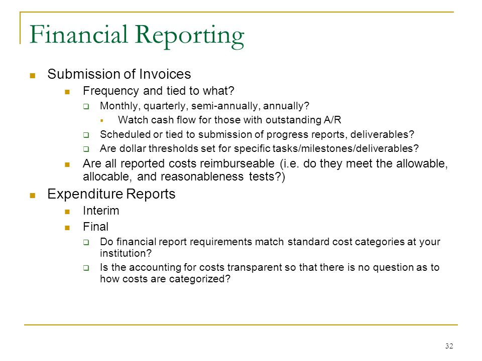 Financial Reporting Submission of Invoices Expenditure Reports