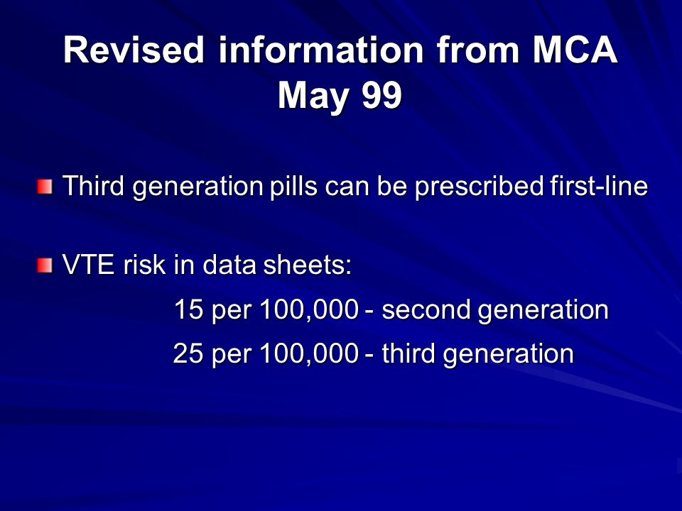 Revised information from MCA May 99