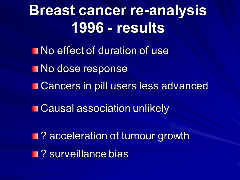 Breast cancer re-analysis 1996 - results