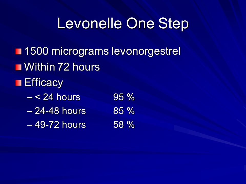 Levonelle One Step 1500 micrograms levonorgestrel Within 72 hours