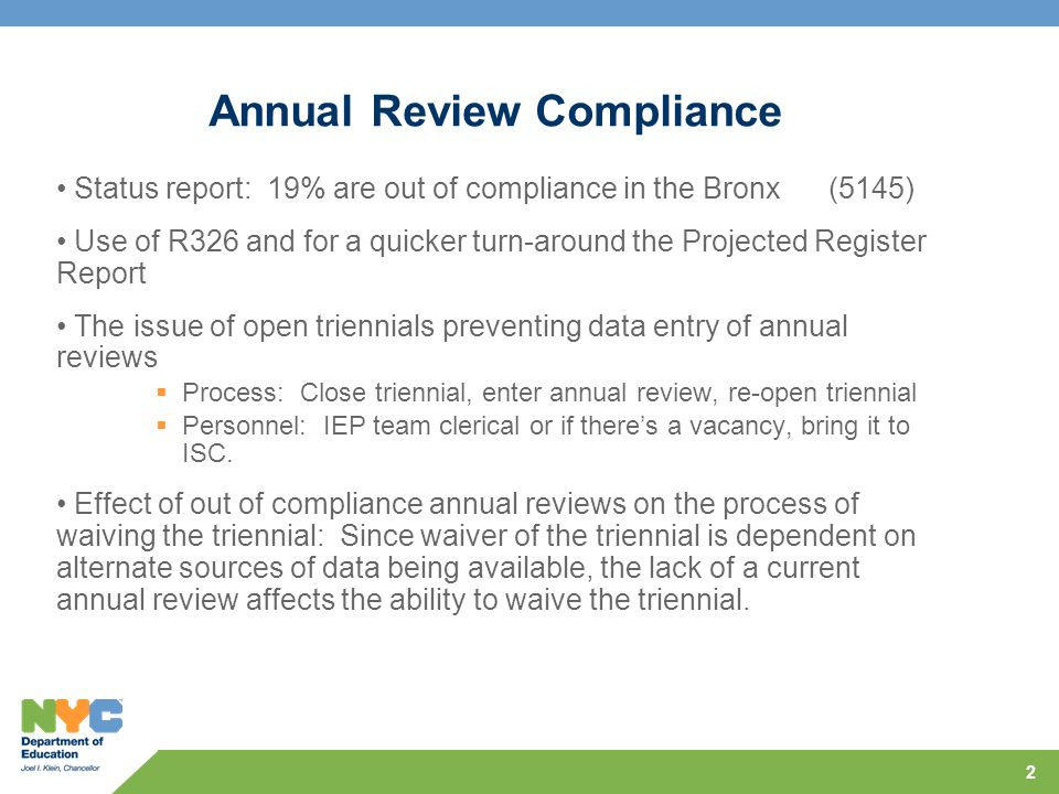 Annual Review Compliance