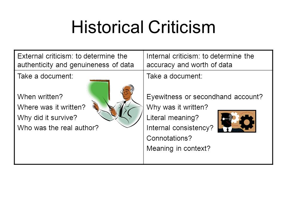 Historical Criticism External criticism: to determine the authenticity and genuineness of data.