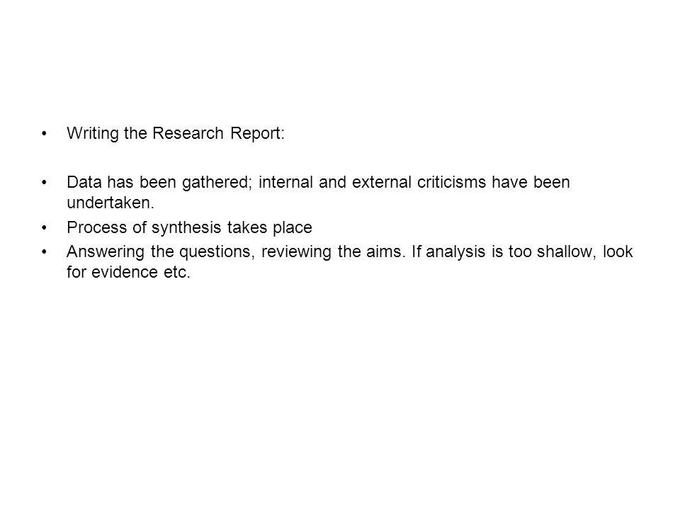 Writing the Research Report: