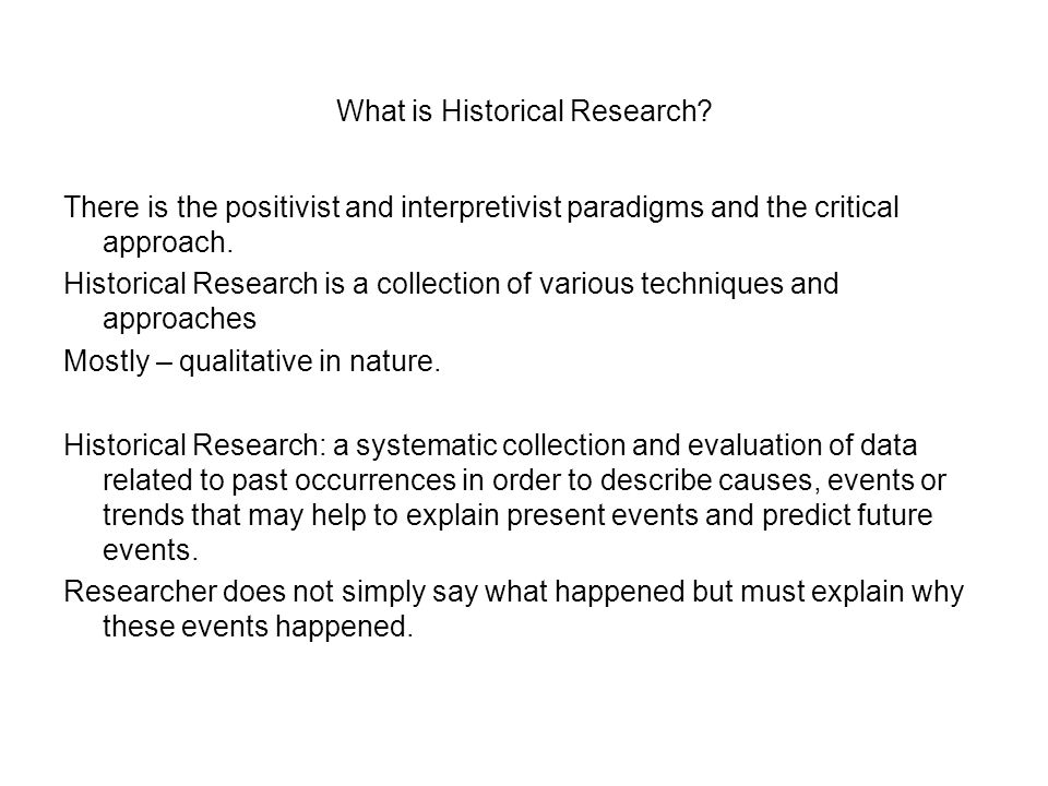 What is Historical Research