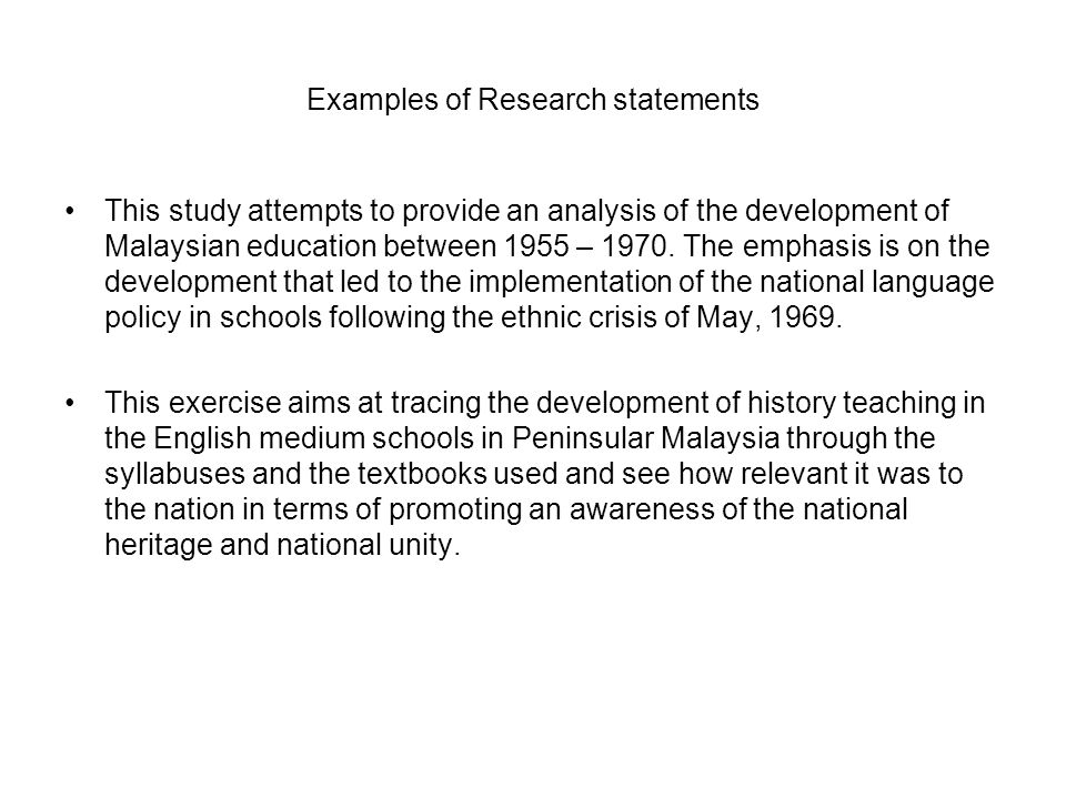 Examples of Research statements