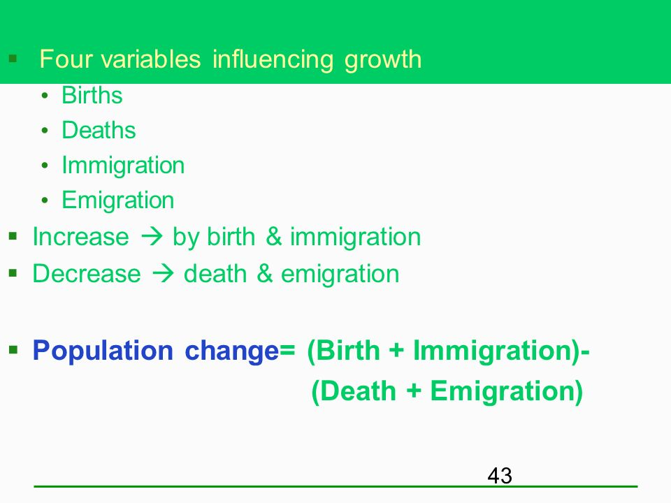 Population change= (Birth + Immigration)- (Death + Emigration)