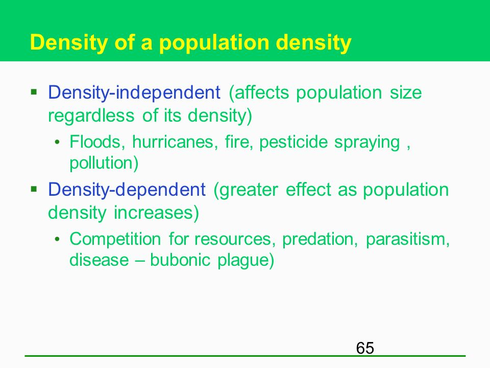 Density of a population density
