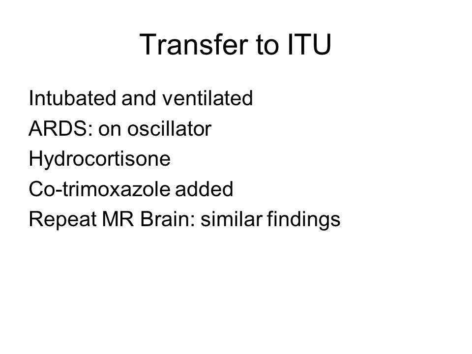 Transfer to ITU Intubated and ventilated ARDS: on oscillator