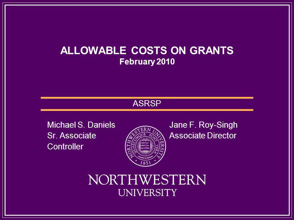 ALLOWABLE COSTS ON GRANTS February 2010