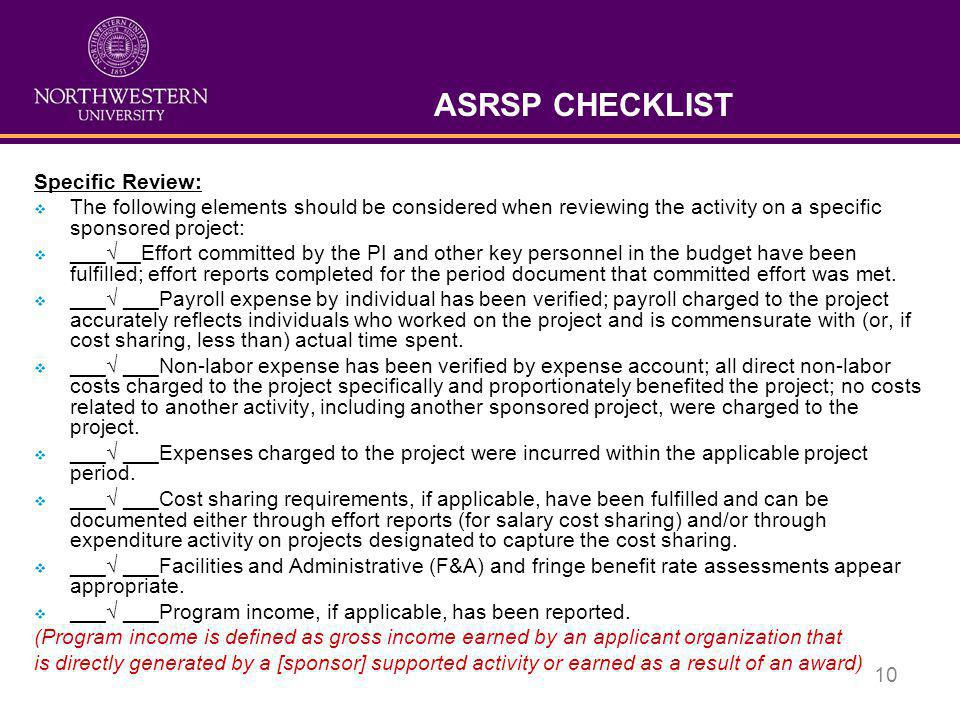 ASRSP CHECKLIST Specific Review: