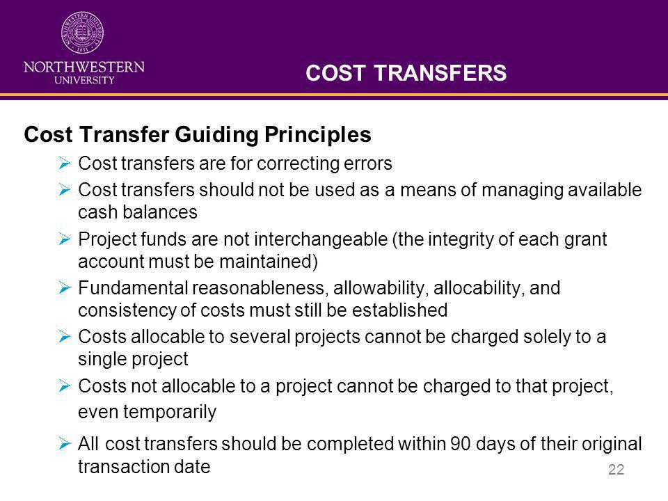 Cost Transfer Guiding Principles