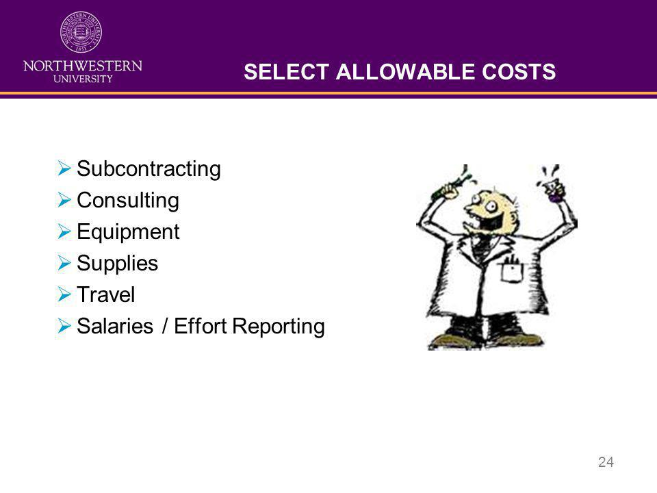 SELECT ALLOWABLE COSTS