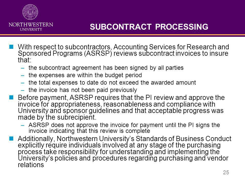 SUBCONTRACT PROCESSING