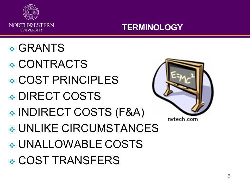 GRANTS CONTRACTS COST PRINCIPLES DIRECT COSTS INDIRECT COSTS (F&A)