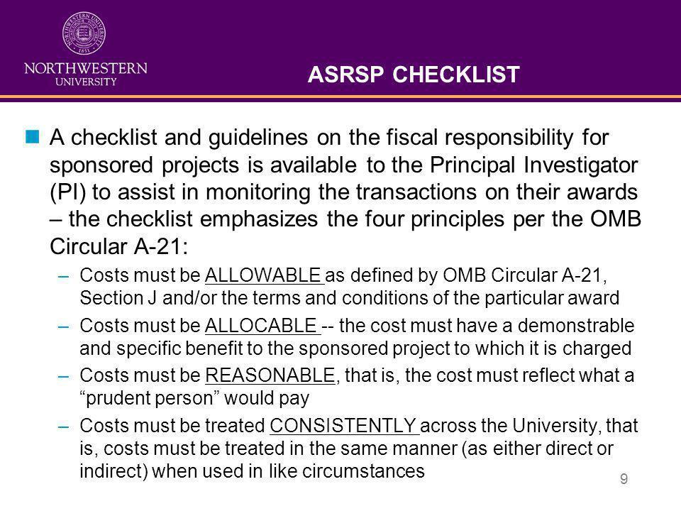ASRSP CHECKLIST