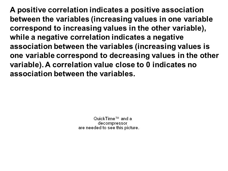 A positive correlation indicates a positive association between the variables (increasing values in one variable correspond to increasing values in the other variable), while a negative correlation indicates a negative association between the variables (increasing values is one variable correspond to decreasing values in the other variable).