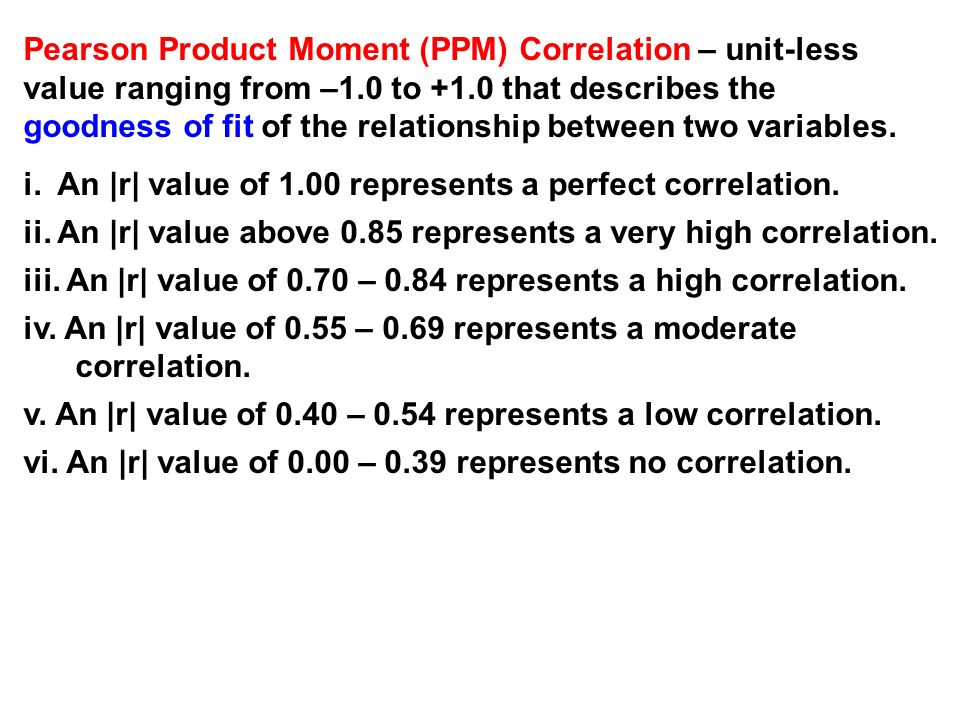 Pearson Product Moment (PPM) Correlation – unit-less