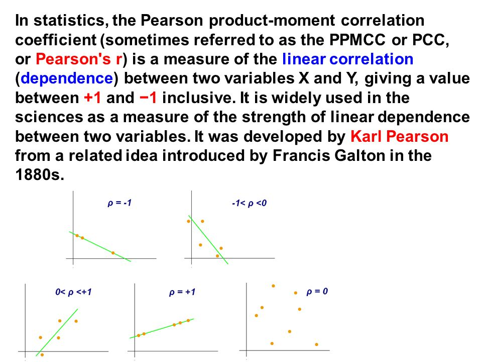 In statistics, the Pearson product-moment correlation coefficient (sometimes referred to as the PPMCC or PCC, or Pearson s r) is a measure of the linear correlation (dependence) between two variables X and Y, giving a value between +1 and −1 inclusive.