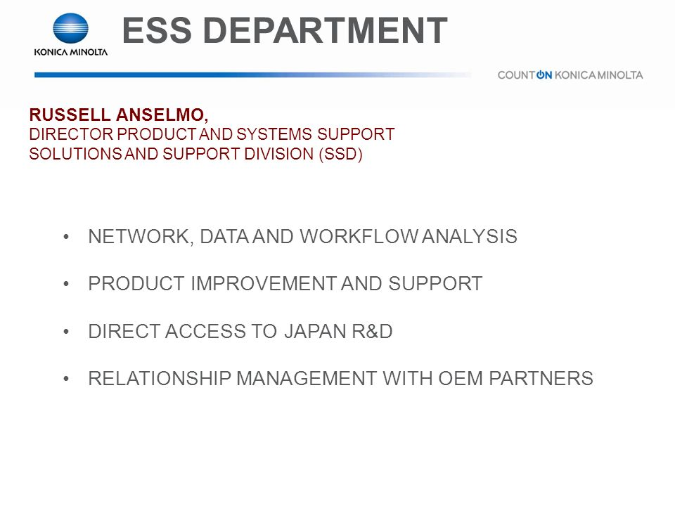 ESS DEPARTMENT NETWORK, DATA AND WORKFLOW ANALYSIS