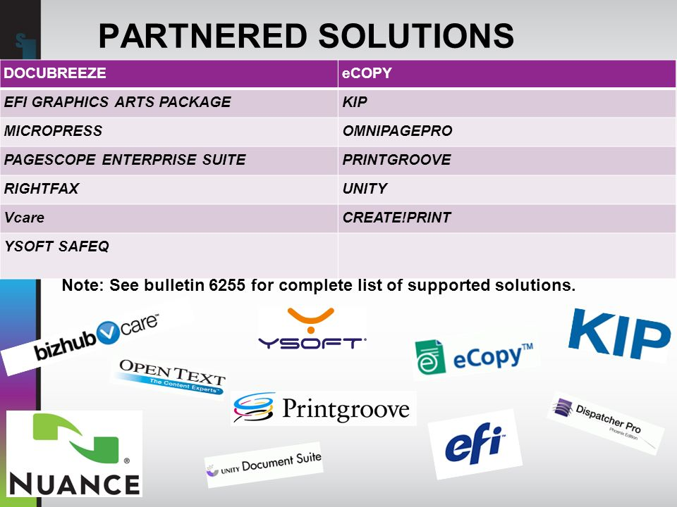 PARTNERED SOLUTIONS DOCUBREEZE. eCOPY. EFI GRAPHICS ARTS PACKAGE. KIP. MICROPRESS. OMNIPAGEPRO.