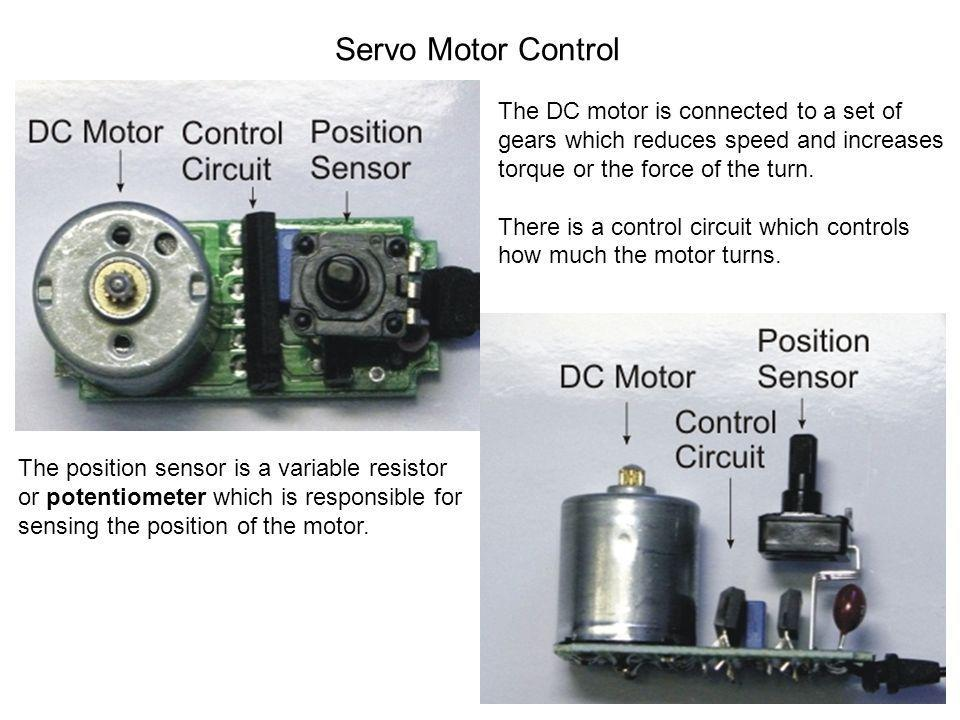 Servo Motor Control The DC motor is connected to a set of gears which reduces speed and increases torque or the force of the turn.