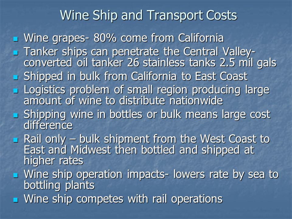 Wine Ship and Transport Costs