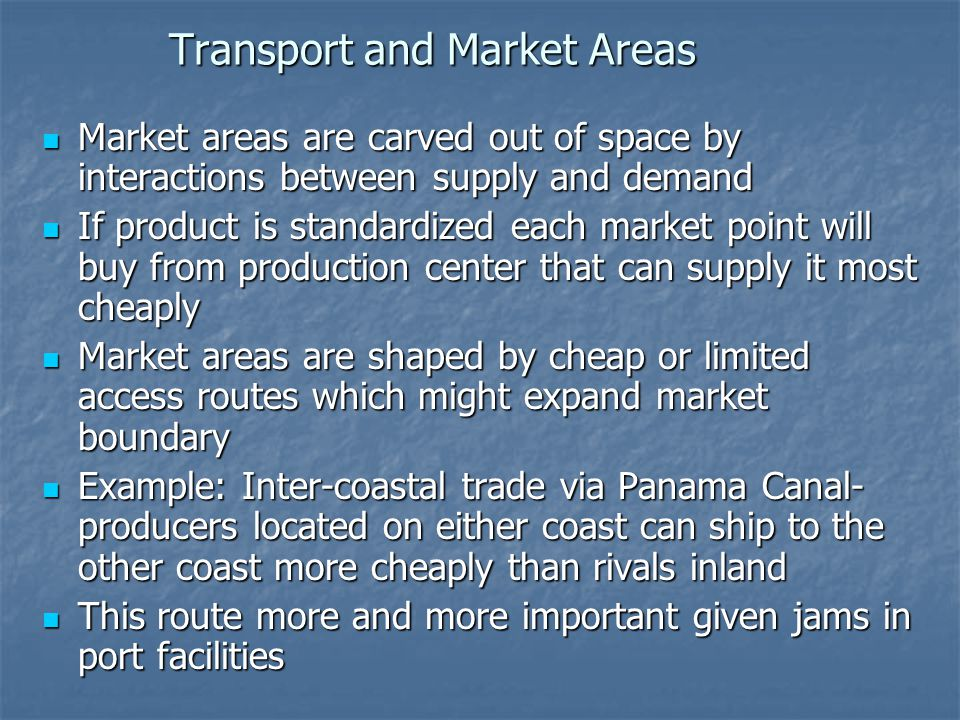 Transport and Market Areas