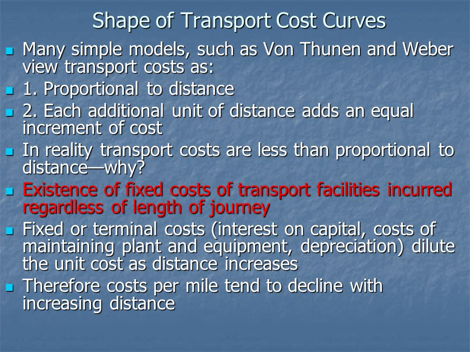 Shape of Transport Cost Curves