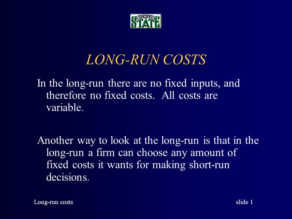 LONG-RUN COSTS In the long-run there are no fixed inputs, and therefore no fixed costs. All costs are variable.