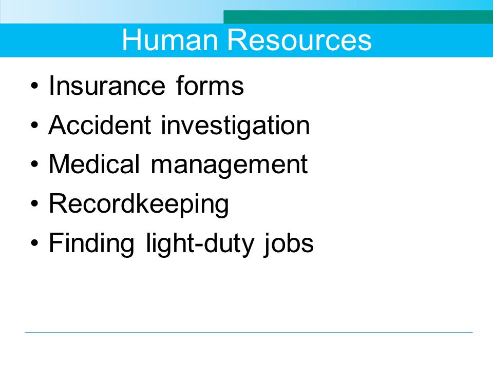 Human Resources Insurance forms Accident investigation