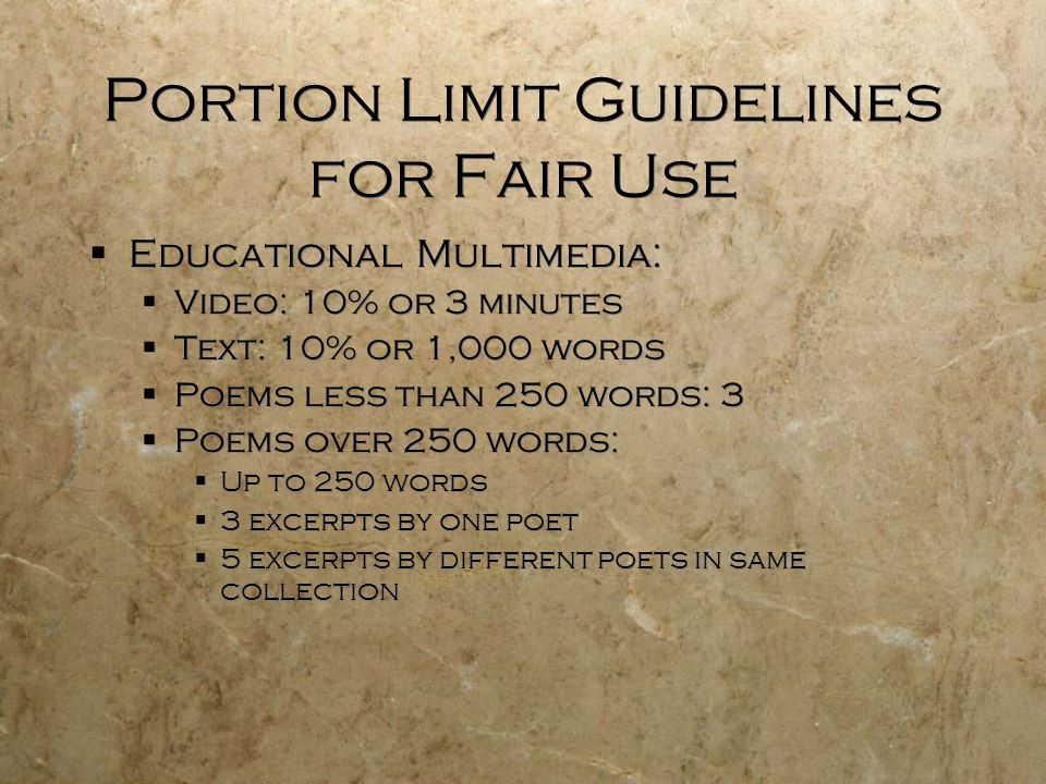 Portion Limit Guidelines for Fair Use