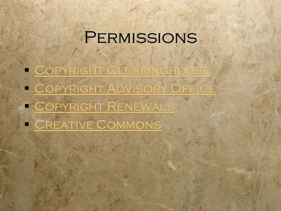 Permissions Copyright Clearinghouse Copyright Advisory Office