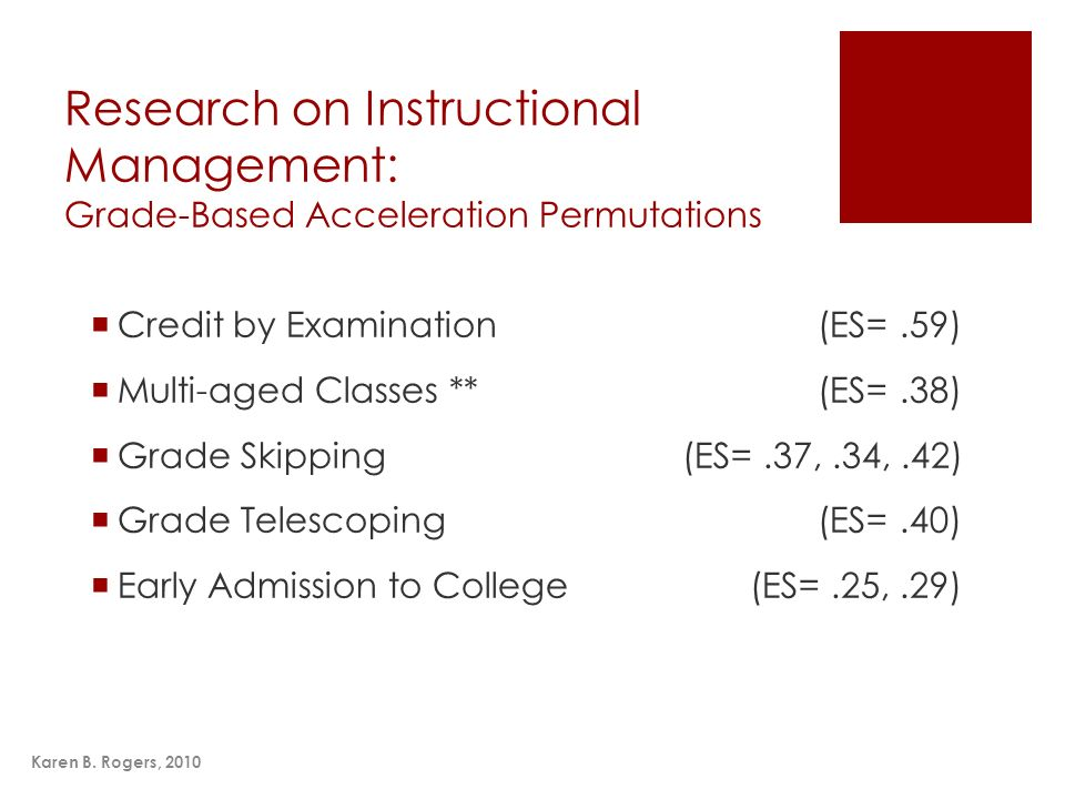 Research on Instructional Management: Grade-Based Acceleration Permutations