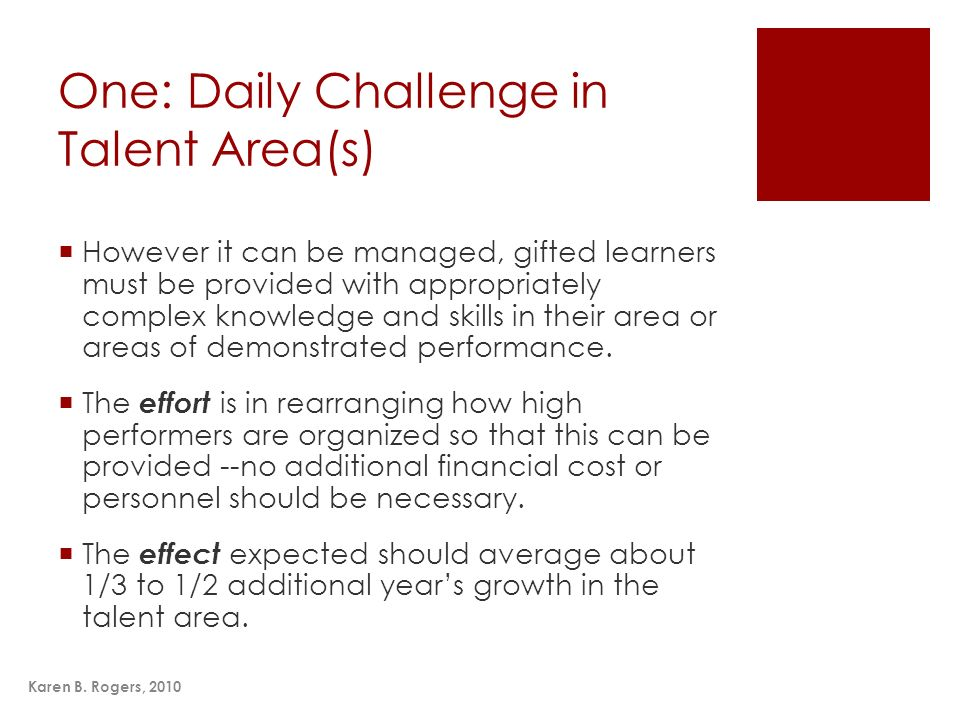 One: Daily Challenge in Talent Area(s)