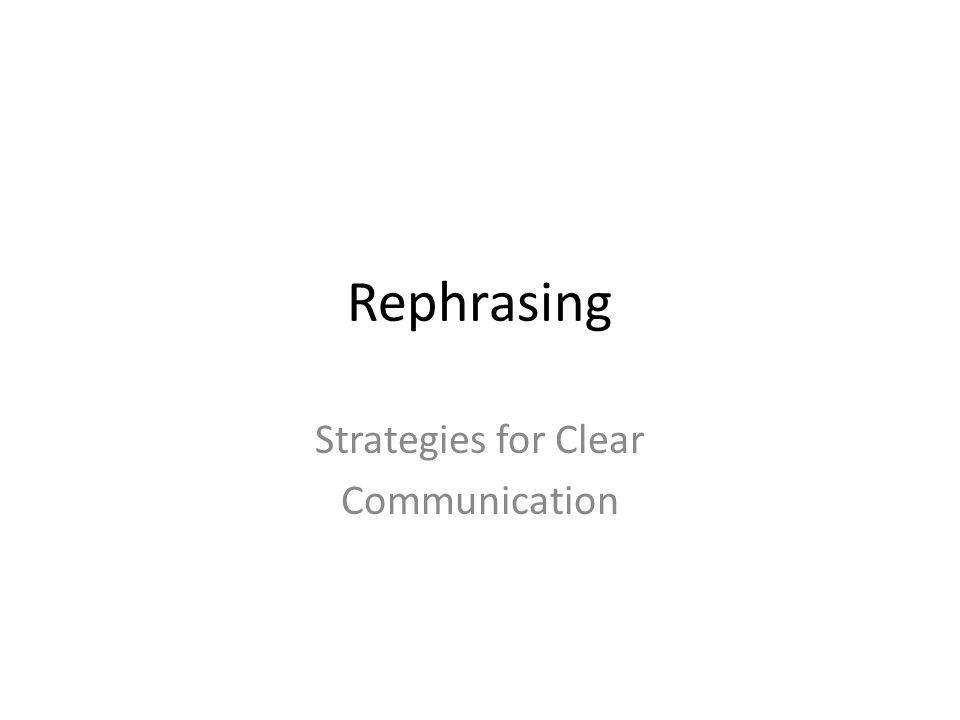 Strategies for Clear Communication