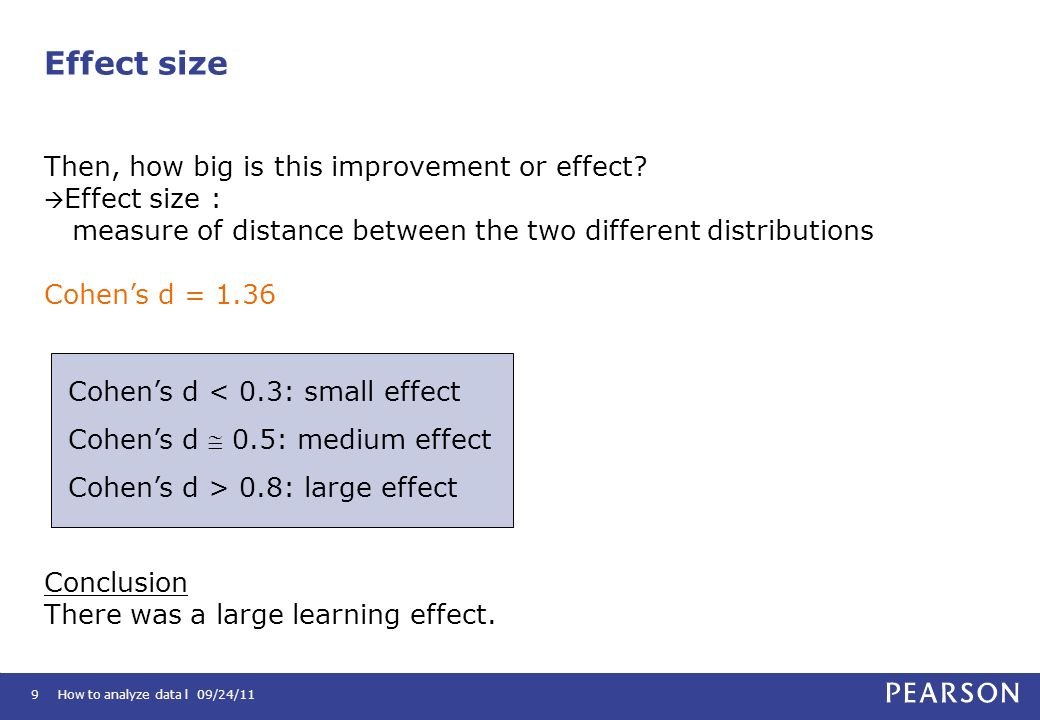 Effect size Then, how big is this improvement or effect Effect size :