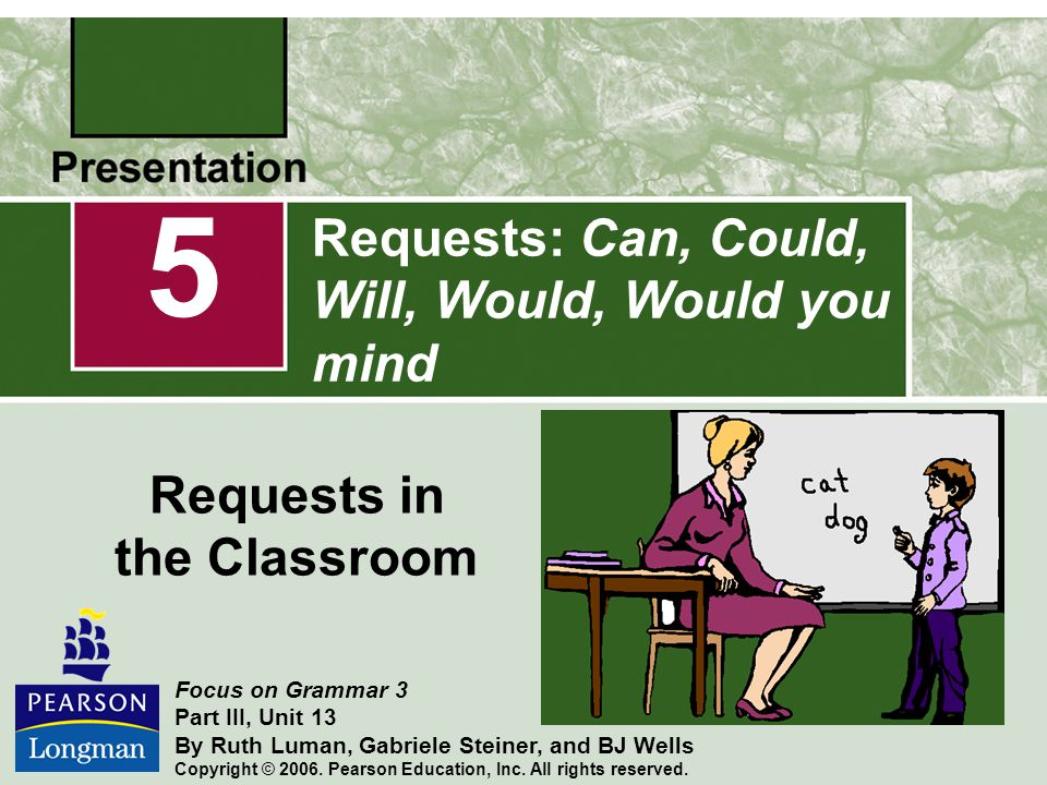 Requests: Can, Could, Will, Would, Would you mind