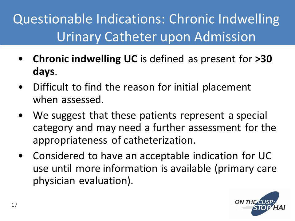 Questionable Indications: Chronic Indwelling Urinary Catheter upon Admission