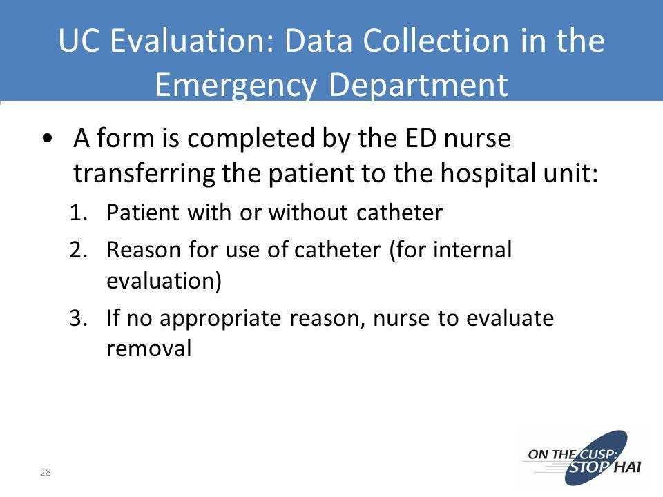 UC Evaluation: Data Collection in the Emergency Department
